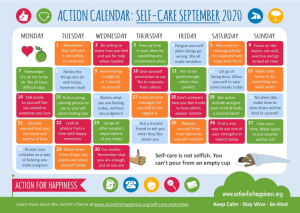 Self Care action calendar